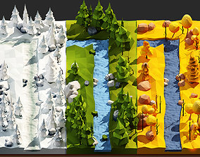 Trees Stones Reaver and Rocks Low-poly 3D VR / AR ready 1