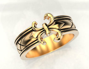 Ring with a heraldic lily 3D printable model