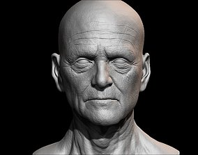High detailed olde guy face with UV and low poly 3D asset