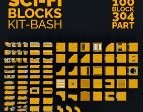 environment 3D model Sci-Fi Blocks Kit-Bash Set