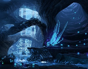 Magic night cave waterfall energy flower and 3D
