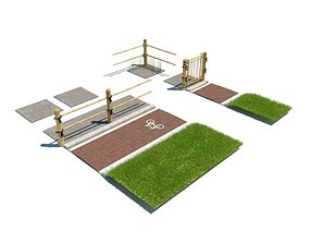 Rustic Wood Fencing Pavement For Bikes 3D