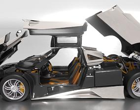 chrome Pagani Huayra 3D model animated