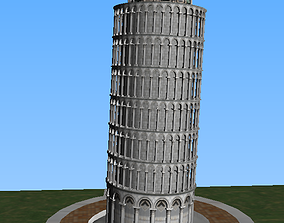 low-poly Pisa tower Italia 3D low-poly model