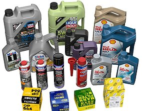 Motor oils and filters 3D model