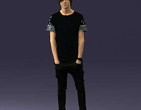 Teenager in black clothes and white sneakers 0208 3D 1