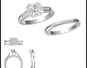Art deco bridal set ring jewelers file set 3D print model