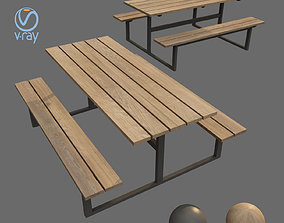 3D model low-poly outdoor bench