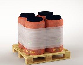 plastic Plastic barrels on the pallet 3D model