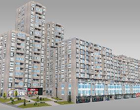 3D asset Brutalist Residential Complex