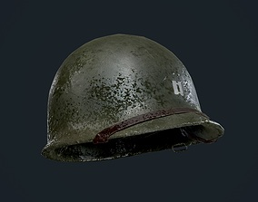 WW2 American Soldier Military Helmet Game Ready 3D model