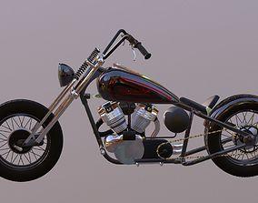 game-ready Harley Davidson chopper 3D Model
