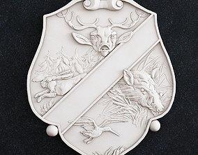 3D print model coat of arms hunting