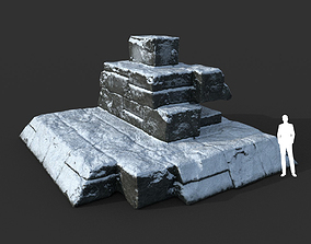 3D model Low poly Snow Ruin Medieval Construction 04