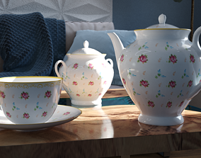 3D model Tea set flower pattern