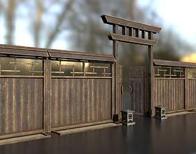 Japanese wooden modular fence 3D asset realtime
