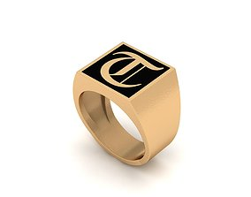 Old English Letter Ring T 3D print model