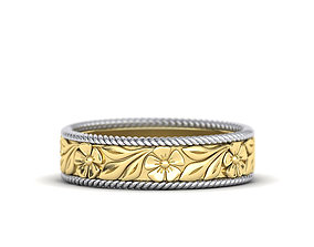 Nature design ring Wedding band Engraved Flowers design