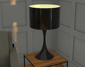 3D model realtime Black lacquer Paloma table lamp h69 cm
