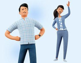 Cartoon Man and Woman Rigged 3D
