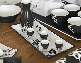 A set of dishes in the Japanese style 3D model game-ready