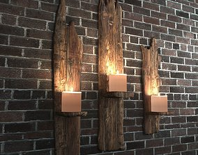 3D model game-ready Wooden Shelf For Candles