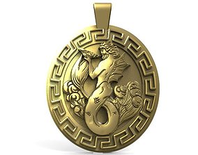 3D printable model jewelry Poseidon pendant