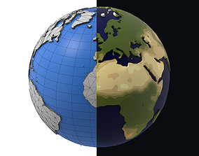 3D model Earth low poly simple design game cartoon