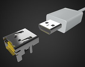 3D Micro HDMI Male and Female connector