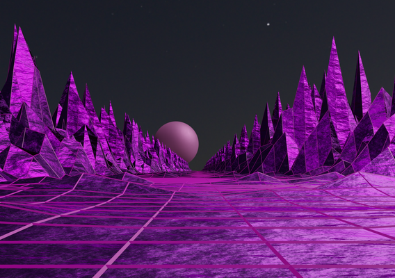 Retro-futuristic landscape