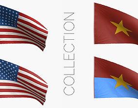 3D model Vietnam War Flags Collection