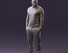 Man in blue sweater hand in pockets 0844 3D Print
