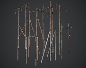 3D asset Utility Pole Power Line Pack PBR