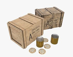 3D asset VR / AR ready US Crackers Wooden Crate