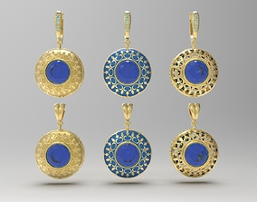 3D printable model Pendant and earrings with oriental