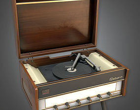 Retro Record Player Midcentury Collection PBR Game 3D