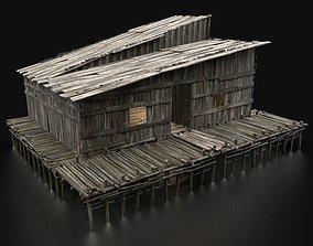 AAA SWAMP WETLAND FANTASY MEDIEVAL WOODEN HOUSE 3D model 2