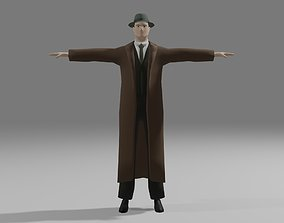 rigged Simply Stylized Male Detective Low-poly 3D model
