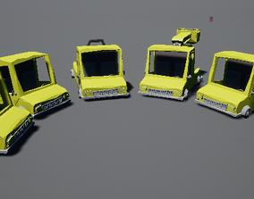 Cartoony Low Poly Truck Pack 3D model