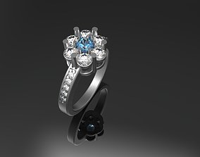 Ring flower with rubies 3D printable model
