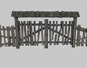 3D asset Old wooden gate