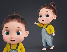 3D model Cartoon Fur Baby Girl Cute Character Rigged