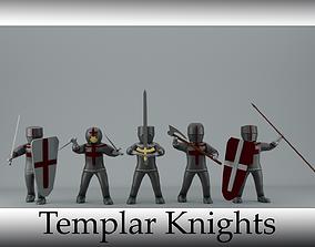 set of templar knights 3D asset