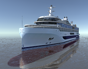 realtime Celebrity Flora expedition cruise ship 3d model