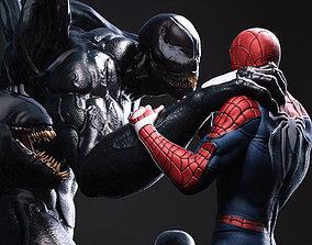 statue Venom vs Spiderman 3D print model