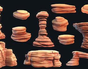 3D asset Stylized Desert Rock collection