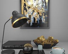 black decorative set 3D model