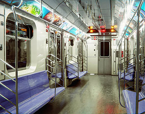 3D model game-ready Subway Car Interior HDR