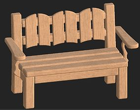 Cartoon wooden bench 8 3D asset