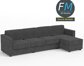 4 seat sofa with chaise longue 3D model